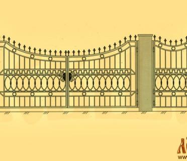 Эскиз кованых ворот 5020